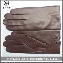 Mens 100% echtes Rotwein Farbe Schaffell Leder Warm Vollfinger Handschuhe Kaschmir Gefüttert