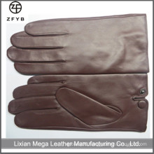 Mens 100% Genuine Red Wine Color Sheepskin Leather Warm Full finger Gloves Cashmere Lined