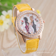fahion trendy vogue genuine leather band diamond twins dial ladies girls watches, watch women