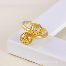 Xuping 14k Gold Plated Round Ball Shape Copper Ring