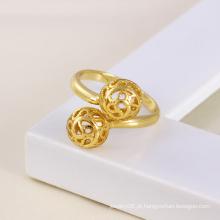 Xuping ouro 14k banhado a forma de bola redonda anel de cobre