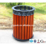 Garden wooden waste bin/cast iron litter bin for outdoor use