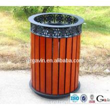 Garden wooden waste bin/cast iron litter bin for outdoor use