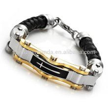 Homens pulseira cruz aço inoxidável com pulseira de couro 2015