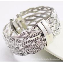 Moda design aço inoxidável metal twisted fio bracelete trançado com mola
