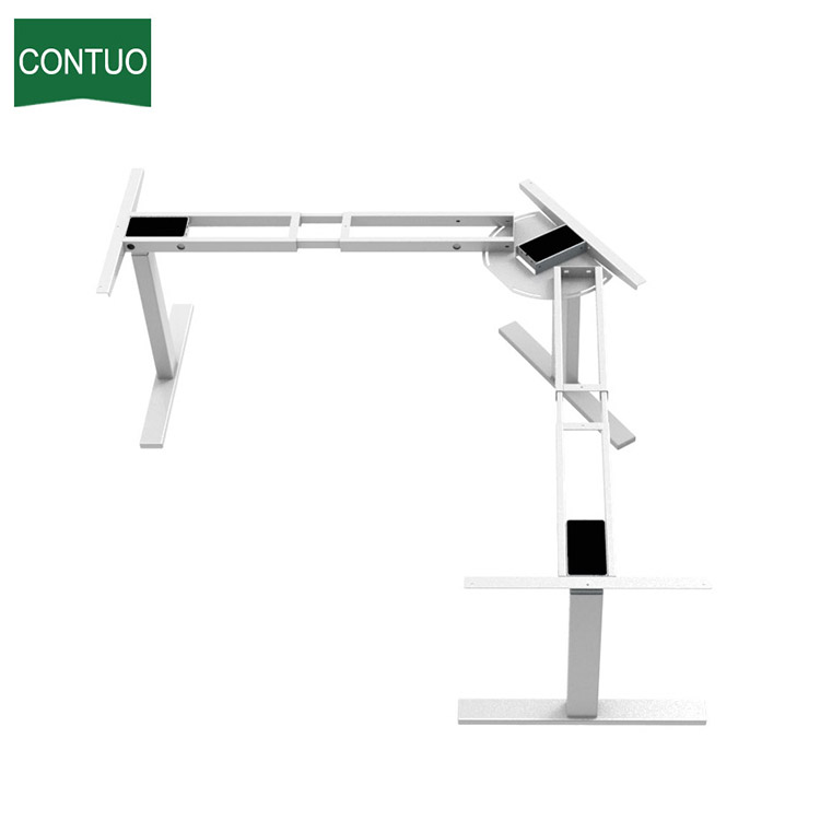 Computer Director L-Shape Uplift Table con patas de acero