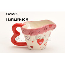 Hand Painted Coffee Heart Shape Handle Mug for Valentine′s Day