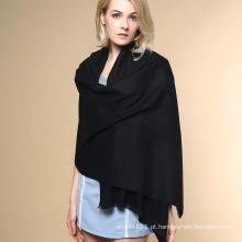 Mulheres moda cor lisa 100% acrílico malha inverno xale (yky4517)