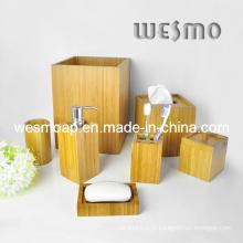Acessório de bambu quadrado 7sets do banho (WBB0624A)