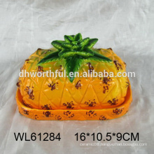 2016 hot selling ceramic butter dish ceramic bread plate in pineapple shape