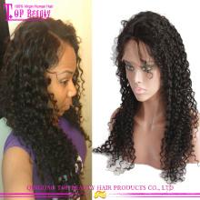 Atacado 100% cabelo humano virgem mongol curly peruca cheia do laço
