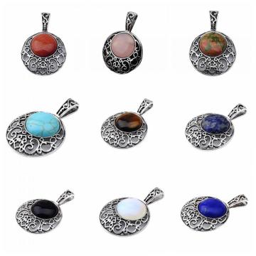 20MM Cabochon Alloy Gemstone Pendant