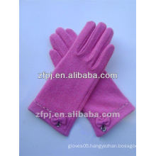 women pink warm driving Leather Glove wool
