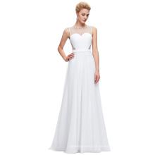Starzz sin mangas de gasa vestido de fiesta blanco simple vestido de fiesta ST000064-2