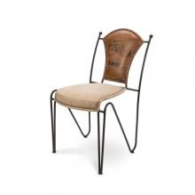 Chaise en toile en fer en cuir