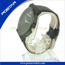 Normalmente reloj de pulsera de cuarzo de forma redonda con chapado en negro IP Psd-2781