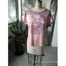 Sommer-reizende rosa zufällige Frauen T-Shirt Kleidung