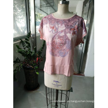 Summer Lovely Pink Casual Women 'camiseta ropa