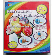 Fabricação de flores 3D Pompom, artesanato para crianças