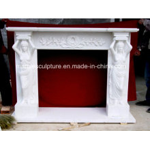 Natural Stone Factory Price Marble Fireplace with Carved Figures (SY-MF131)