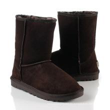 Botas para la nieve plana lana chocolate cuero clásico