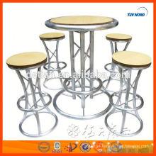 fornecedor de Mesa de barra de alumínio personalizado painel redondo MDF para bar fezes bar móveis