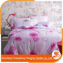 Hot sale 100% poliéster moderna linda folha de cama define tecido