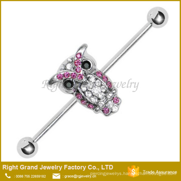 316L Surgical Steel Barbell Pink and Clear Paved Owl Industrial Barbell