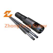 Cilindro de tornillo cónico doble del PVC Cilindro de tornillo doble Zytc