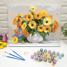 White bowl with yellow daisies paint by numbers kit framed digital painting