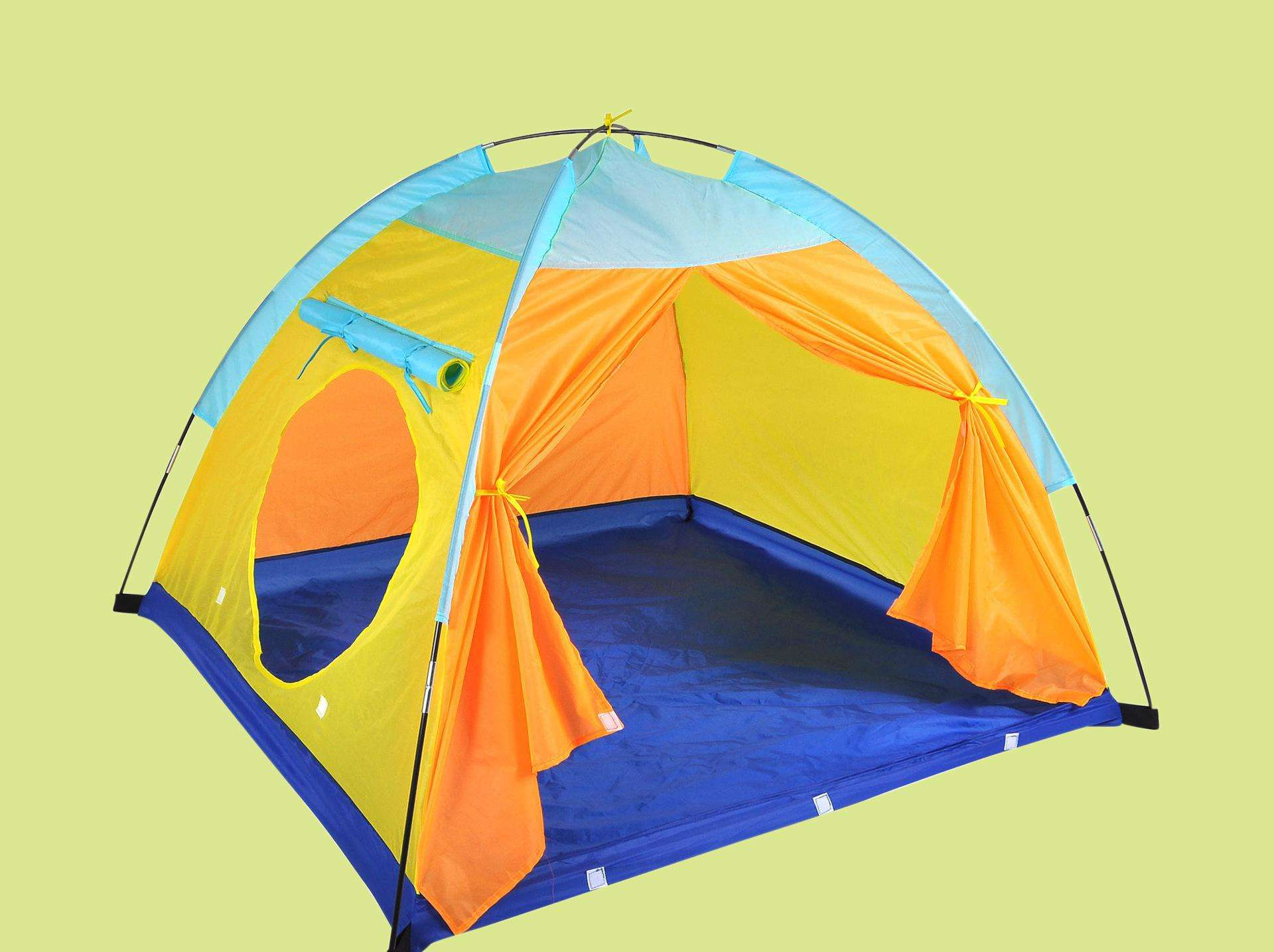 Portable kids playing tent home sleeping orange