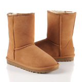 Brown Classic Cow Leather Wool Medium Flat Snow Boots