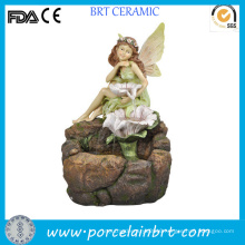 Beautiful Elf Sit Resin Fairy Garden Fountain