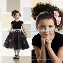 Короткий рукав бархат и тюль середины икры трапеция платье девушки цветка