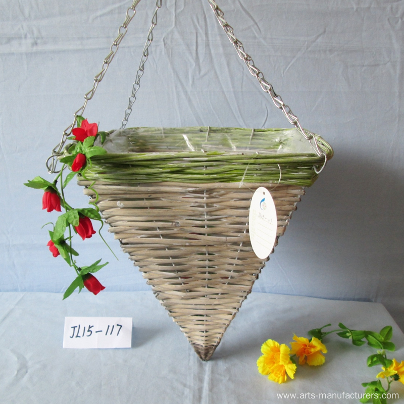 Square Rattan Garden Hanging Basket