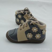 Зимняя новорожденная детская кожаная обувь с короткими ботинками