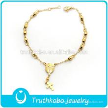 Bijoux religieux Accessoires En Gros En Acier Inoxydable Religieux Chapelet Perles Charmes Bracelet avec Prier Mère Mary Charme