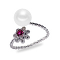 Blumen Zircon Natürlicher Süßwasser 925 Sterling Silber Perlen Ring