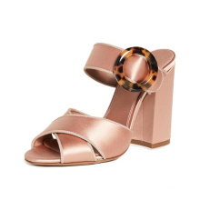 2019 New Multi-color Thick High-heeled Word Buckle Casual Women's Sandals