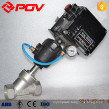 threaded pneumatic with electric angle seat valve