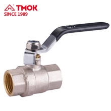 Black handle and nickel plated body with double sided threads used to meter high light brass ball valve