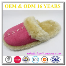 soft feeling indoor flip flop women winter white slipper with pom poms