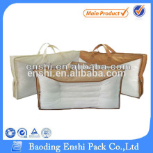Home textile non-woven bag for pillow plastic bedding bag with rope cord handle