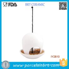 Висит керамическое блюдо для белого кормушку птиц