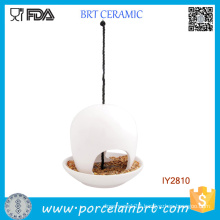 Hanging Ceramic Dish for Bird White Bird Feeder