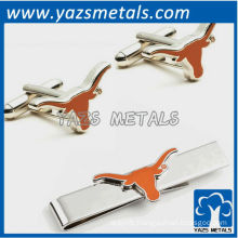 Texas Longhorns tie bars and cufflinks, custom made metal tie clip with design
