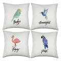 Set of Birds Throw Pillow Covers Flamingo Parrot Decorative Cushion Cover Pillow Case for Sofa Bedroom Car Couch 18 x 18 Inch