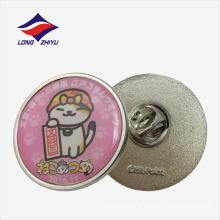 Wholesale cute round nickel plating custom epoxy with butterfly clutch