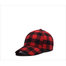 Cotton black and red checkered cap baseball cap