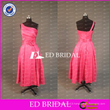 Real Sample Watermelon Red One Shoulder Ankle Length A Line Bridesmaid Dress